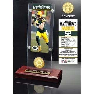 Clay Matthews Ticket & Bronze Coin Acrylic Desk Top - Multi-color