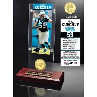 Luke Kuechly Ticket & Bronze Coin Acrylic Desk Top - Multi-color