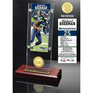 Richard Sherman Ticket & Bronze Coin Acrylic Desk Top - Multi-color