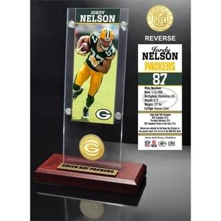 Jordy Nelson Ticket & Bronze Coin Acrylic Desk Top - Multi-color