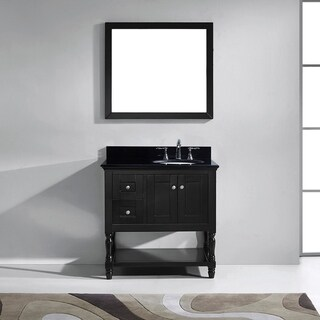Virtu USA Julianna 36-inch Black Granite Single Bathroom Vanity Set with Faucet Options