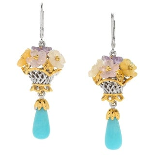 Michael Valitutti Palladium Silver Amazonite & Multi Gemstone Carved Flower Dangle Earrings - Blue