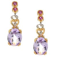 Michael Valitutti Palladium Silver Checkerboard Cut Pink Amethyst & Rhodolite Drop Earrings - Purple