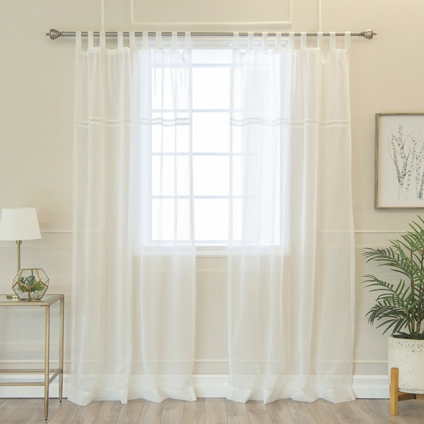 Aurora Home Ladder Lace Accent Tab Top Faux Linen Curtain Panel Pair ...