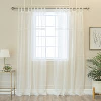 Aurora Home Ladder Lace Accent Tab Top Faux Linen Curtain Pair - N/A