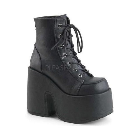 Women's Demonia Camel 203 Ankle Boot Black Vegan Leather