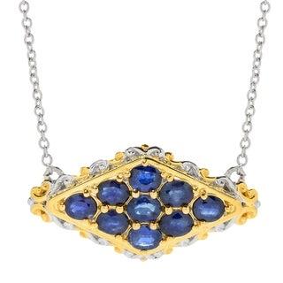 Michael Valitutti Palladium Silver Royal Blue Sapphire Nine-Stone Necklace