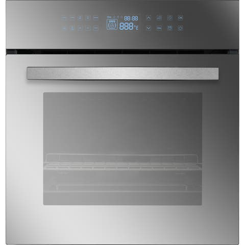 "Empava 24"" Black Tempered Glass Electric Single Wall Oven"