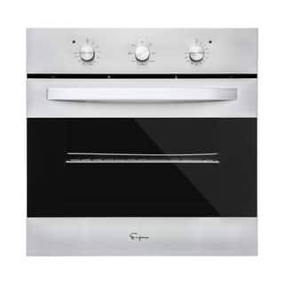 Empava 24 in Gas Single Wall Oven with Rotisserie and Broil Function in Black