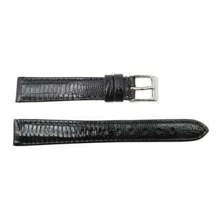 Black Leather Round & Square Lizard Grain Watch Band (12mm 14mm 16mm)