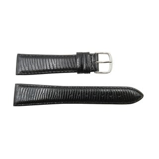 20mm Genuine Leather Black Lizard Grain Replacement Watch Band