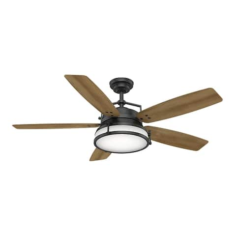 "Casablanca 56"" Caneel Bay Outdoor Ceiling Fan with LED Light Kit and Wall Control, Damp Rated - Aged Steel"
