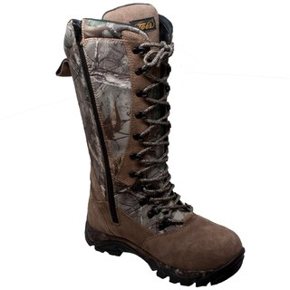 "Men's 15"" Waterproof Zip/Lace Snake Bite Boot Camo Brown