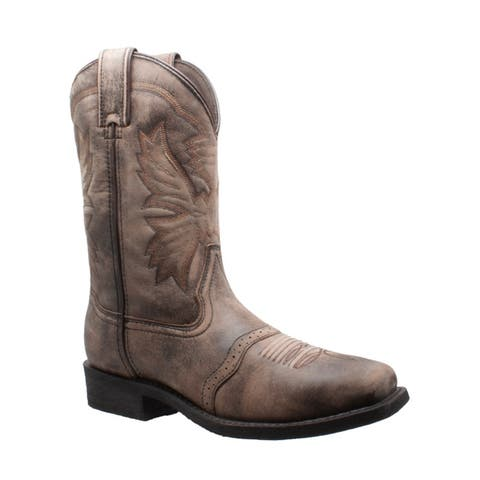 AdTec Mens 11 inch Square Toe Stonewashed Pull On Western Brown
