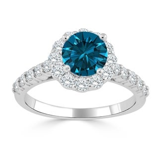 Auriya 14k Gold 1 1/2ct TDW Blue and White Diamond Halo Engagement Ring (Blue)