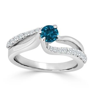 Auriya 14k Gold 3/4ct TDW Blue and White Diamond Engagement Ring (Blue)
