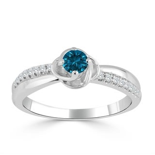 Auriya 14k Gold 1/3ct TDW Blue and White Diamond Engagement Ring (Blue)