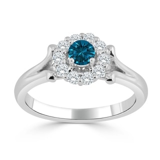 Auriya 14k Gold 1/2ct TDW Blue and White Diamond Halo Engagement Ring (Blue)
