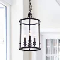 Henrietta Black Iron/Glass 3-light Antique-style Pendant Chandelier