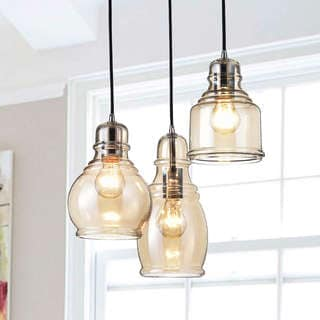 Mariana Cognac Glass Cluster with Chrome and Round Base 3-light Pendant Chandelier