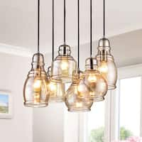 Mariana Chrome 6-light Cognac Glass Cluster Pendant Chandelier with Rectangular Base