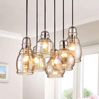 Mariana Chrome 6-light Cognac Glass Cluster Pendant Chandelier with Rectangular Base & Buy Pendant Lighting Online at Overstock.com | Our Best Lighting Deals