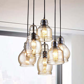 Link to Mariana Cognac Glass Antique Black and Round Base 6-light Pendant Similar Items in Pendant Lights