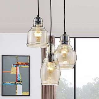 Link to Mariana Antique Black Cognac Glass 3-light Cluster Pendant Chandelier Similar Items in Pendant Lights