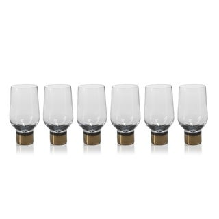 """Galiotto"" Bar Glass, Silver Accent (Set of 6)"