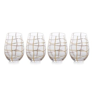 """Groove"" 6.5"" Tall Stemless Wine Glass (Set of 4)"