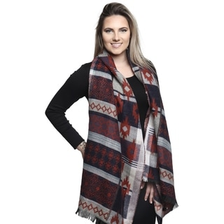 Womens Aztec Bufanda Pattern Design Fall and Winter Warm Shawl Oblong Scarf