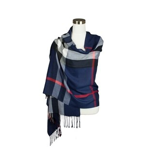Womens Classic Plaid Pattern Fringe Accent Design Super Soft Feel Oblong Scarf