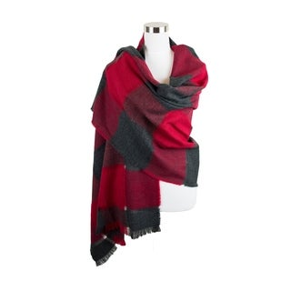 Womens Two Tone Check Patterned Oblong Scarf with Fringe