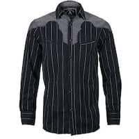 Men's 'Country Bars' Long Sleeve Western Fashion Button Up Shirt by Rock Roll n Soul