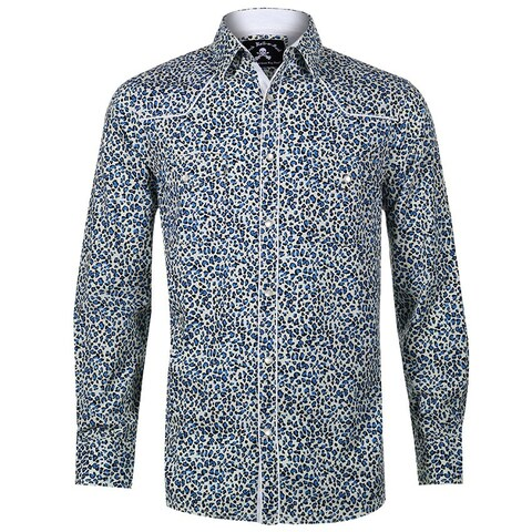 Men's Leopard Print Long Sleeve Western Inspired Fashion Button Up Shirt by Rock Roll n Soul