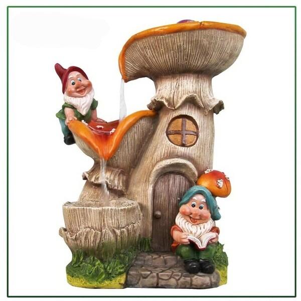 SINTECHNO SNF91159-3 Gnomes Mushroom House Sculptural Fountain