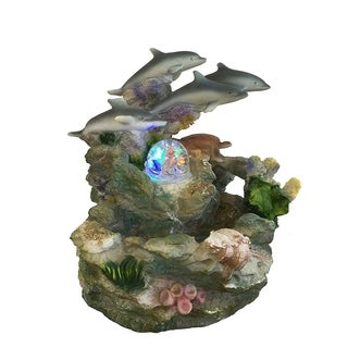 SINTECHNO SNF12031-1 Dolphins and Turtle Tabletop Water Fountain
