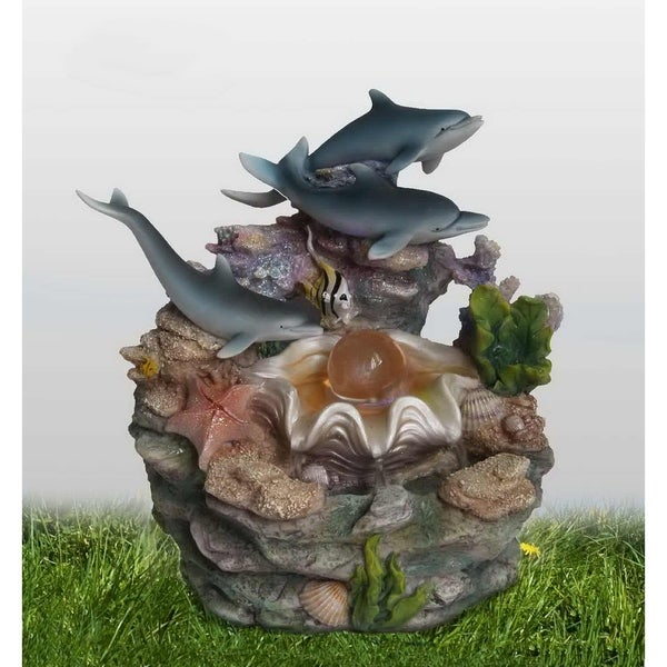 SINTECHNO SNF12031-2 Dolphins and Clam Shell Tabletop Water Fountain