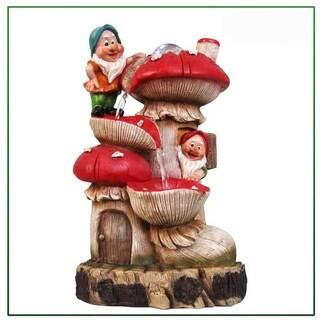 SINTECHNO SNF91159-1 Gnomes Mushroom House Sculptural Fountain