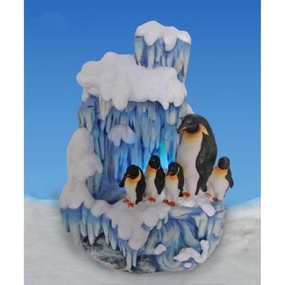 SINTECHNO SNF12076-2 Artistic Penguin Family on Iceberg Tabletop Water Fountain