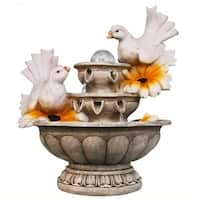 SINTECHNO SNF13162-4 Lovely Couple of Dove Resting on 3-Tier European Sculpture Tabletop Water Fountain