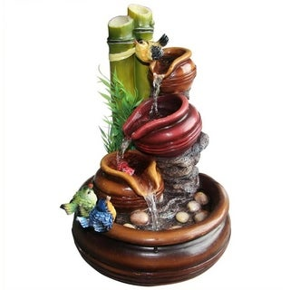 SINTECHNO SNF13258 Artistic Sculptural Colorful Birds Resting on 3-Tier Jar Tabletop Water Fountain