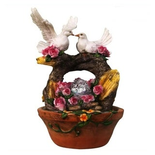 SINTECHNO SNF13165-4 Lovely Couple of Dove Nesting on Arch Tree Sculpture Tabletop Water Fountain