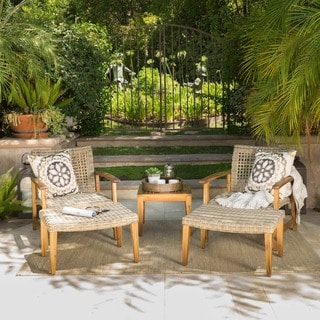 Hampton Outdoor 5-piece Mid-Century Wicker Chat Set by Christopher Knight Home