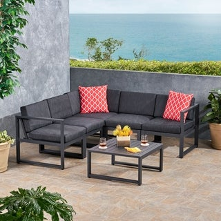 Navan Outdoor 6 Piece Aluminum V Shaped Sectional Sofa Set With Cushions By  Christopher