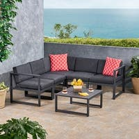Navan Outdoor 6-piece Aluminum V-Shaped Sectional Sofa Set with Cushions by Christopher Knight Home