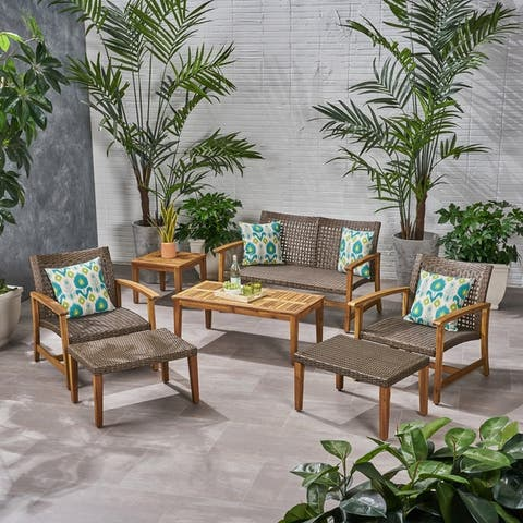 Hampton Outdoor 7-piece Mid-Century Wicker Chat Set by Christopher Knight Home