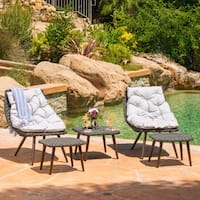 Caledonia Outdoor 5-piece Wicker Chat Set with Cushions by Christopher Knight Home