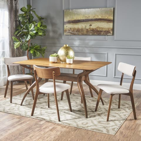 Nissie Mid-Century 5-piece Wood Rectangle Dining Set by Christopher Knight Home