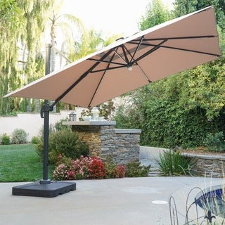 Delray Outdoor 9.7-foot Canopy Umbrella with Base and Solar Light Stip by Christopher Knight Home